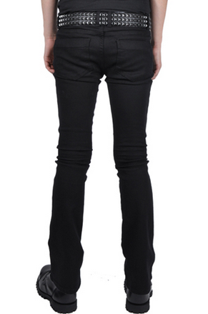 TRASH AND VAUDEVILLE - MENS BOOT CUT STRETCH JEANS IN BLACK - FETISH