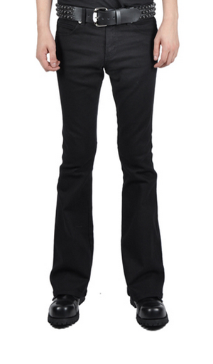 TRASH AND VAUDEVILLE - MENS FLARE BOTTOM STRETCH JEANS IN BLACK - FETISH