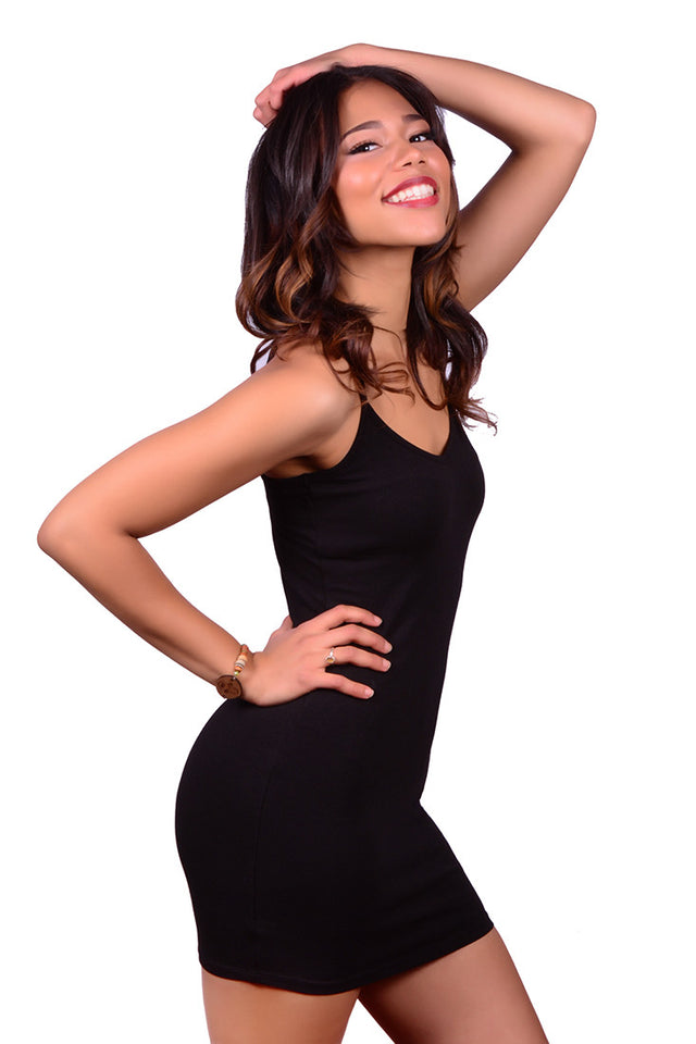 LA MADE - V NECK DRESS IN BLACK - FETISH
