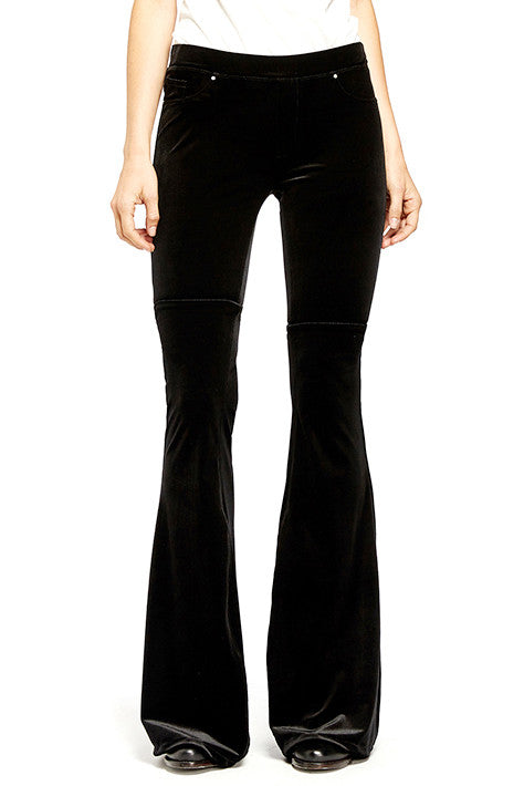 VELVET BELLBOTTOM PANTS IN BLACK