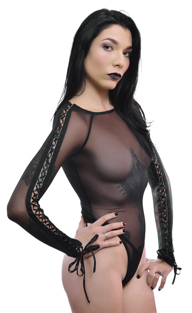 HOUSE OF WIDOW - MESH BODYSUIT WITH LACEUP SLEEVES - FETISH
