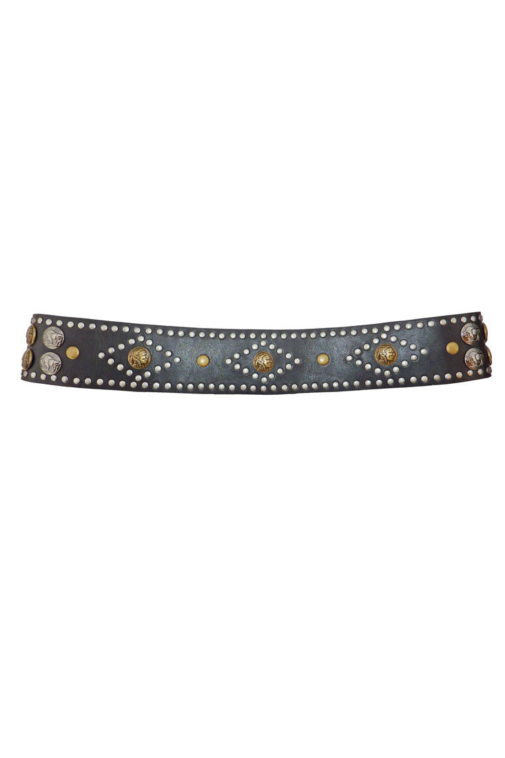 ZODIAC STUDDED NATIVE AMERICAN LEATHER BELT