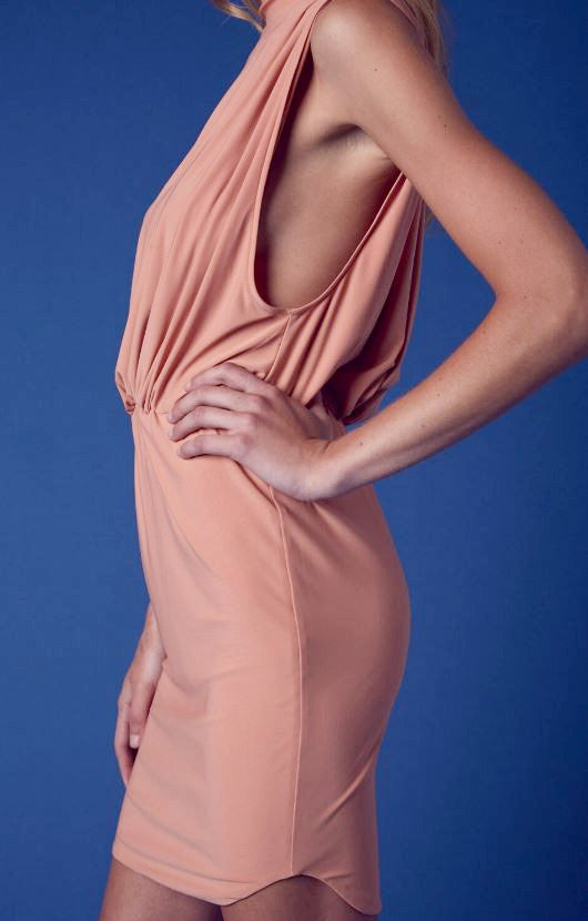 ZOE DRESS IN DUSTY PEACH
