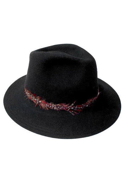 WOOL WIDE BRIM FLOPPY HAT WITH FEATHER TRIM