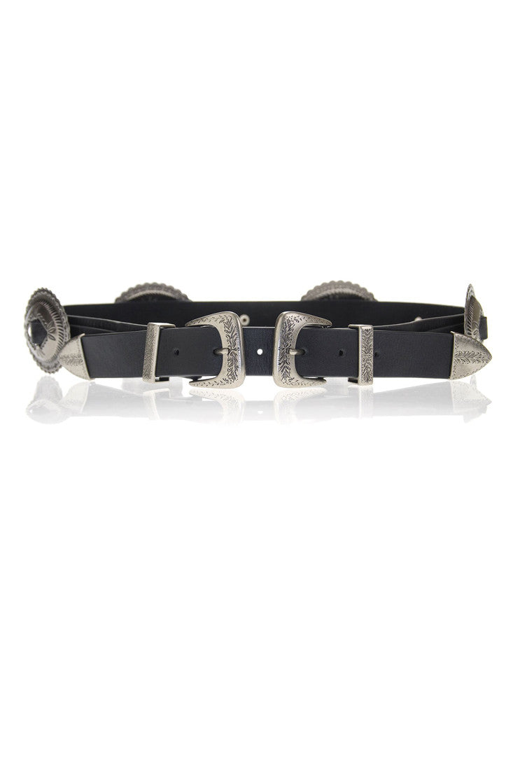 LOVESTRENGTH - JULIE DOUBLE BUCKLE CONCHO BELT (2 COLORS AVAILABLE) - FETISH
