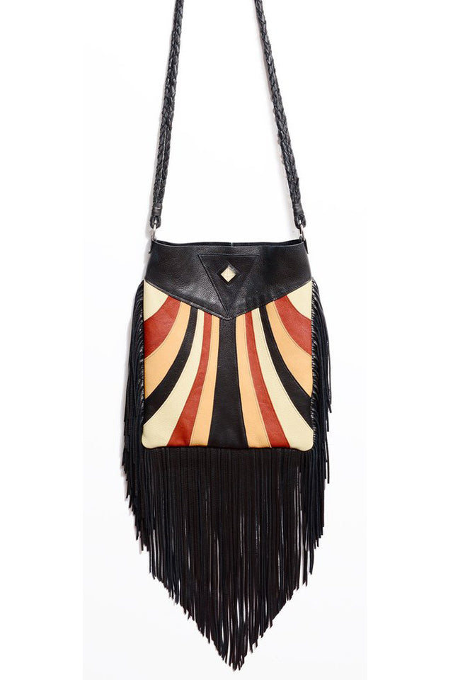 KALEIDOSCOPE FRINGE HOBO BAG IN BLACK