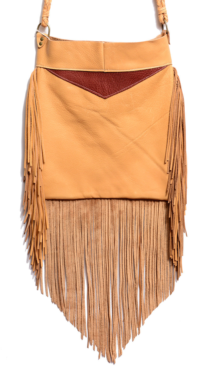 NATIVE RAINBOW - KALEIDOSCOPE FRINGE HOBO BAG IN CAMEL - FETISH