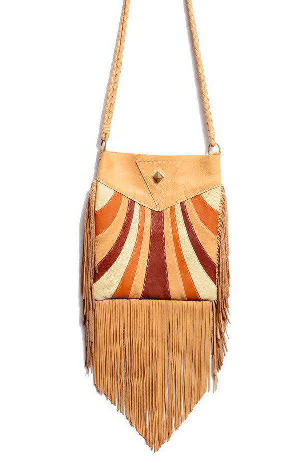 KALEIDOSCOPE FRINGE HOBO BAG IN CAMEL