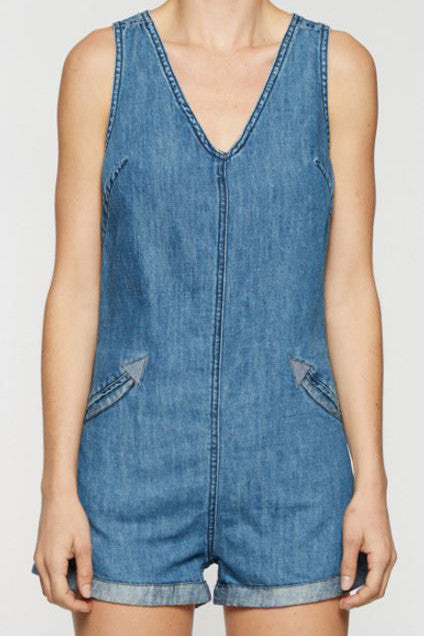 "DENIM ROMPER IN ""BOBBLE HEAD"""
