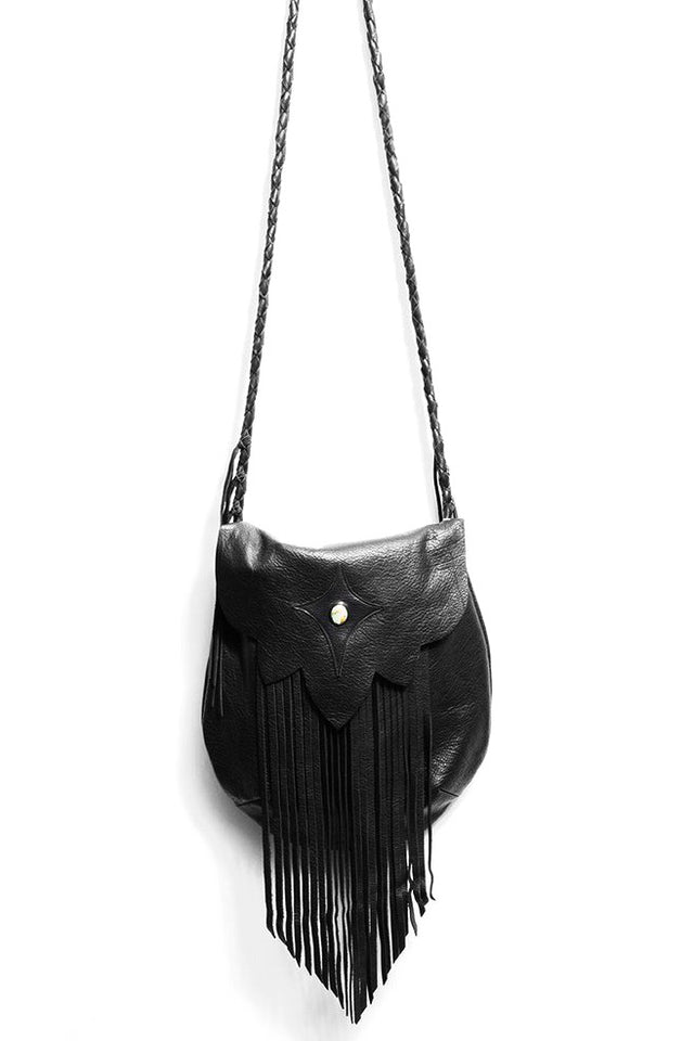 SAHARA FRINGE HOBO BAG IN BLACK
