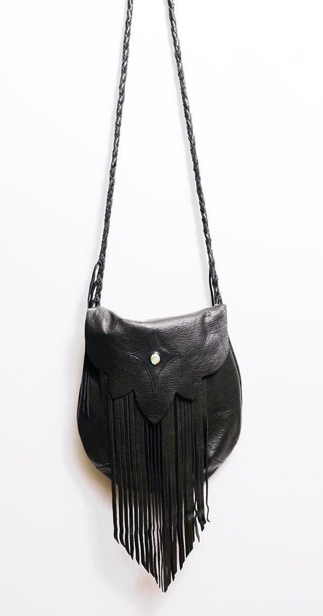 NATIVE RAINBOW - SAHARA FRINGE HOBO BAG IN BLACK - FETISH