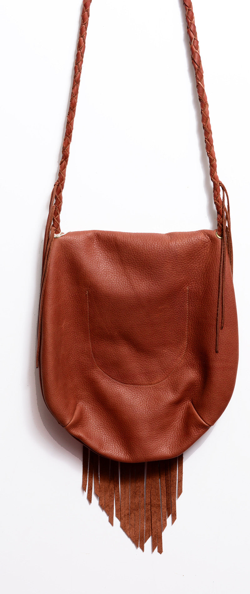 NATIVE RAINBOW - SAHARA FRINGE HOBO BAG IN BROWN - FETISH