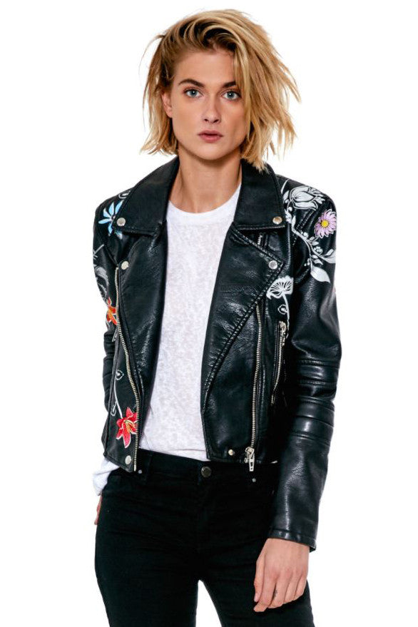 "VEGAN LEATHER MOTO JACKET ""SECRET KEEPER"""