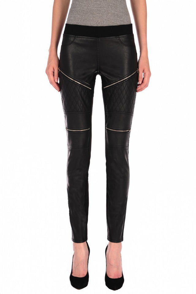 QUILTED VEGAN LEATHER LEGGINGS WITH ZIPPERS