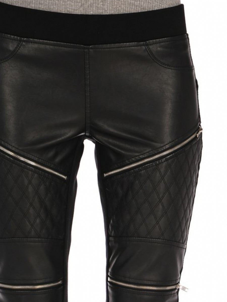 BLANK NYC - QUILTED VEGAN LEATHER LEGGINGS WITH ZIPPERS - FETISH