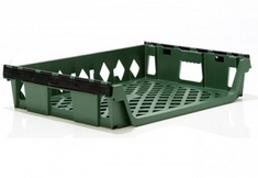 Stackable 12 Loaf Bread Tray (Green) Angled View
