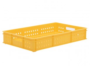 stackable mesh plastic bread & meat tray in yellow