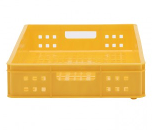 stackable mesh plastic bread & meat tray in yellow (top view)