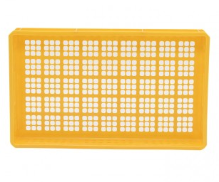stackable mesh plastic bread & meat tray in yellow (bottom view)