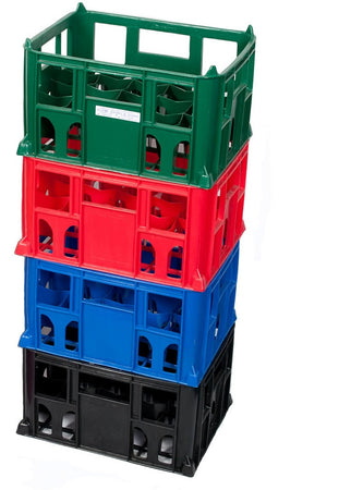 Multiple Stacked Bottle Crates (9.5 Inches) with Variety of Colours