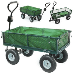 Heavy Duty XL Garden Mesh Cart Trolley Utility Barrow Wagon (4 Wheels - green & black)