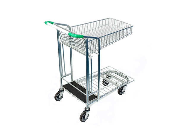 Fully Extended Wired Folding Basket Garden Centre Trolley