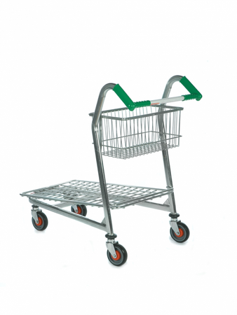 TV Flatbed Trolley with Basket