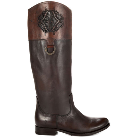 Frye Melissa Logo Boot Dark  Brown