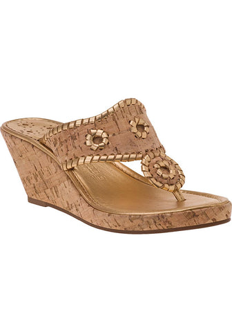 Jack Rogers Marbella Mid Wedge Natural Cork/Gold