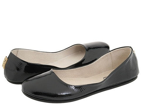 French Sole Sloop Black Patent Flats