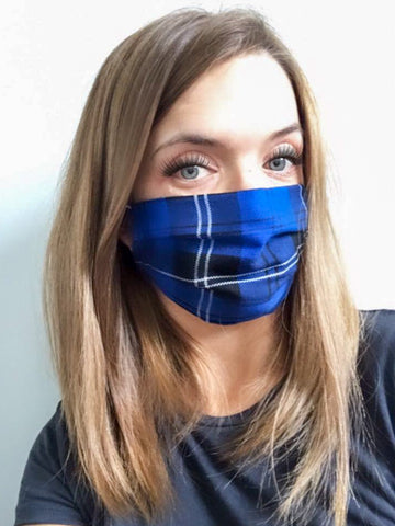 Royal Blue Tartan Face Mask