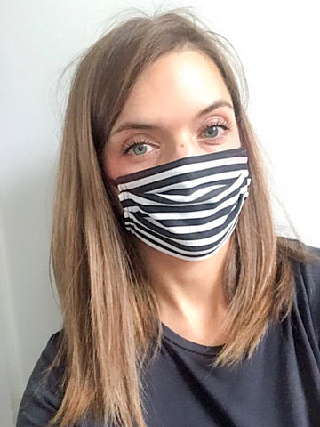 Charcoal Stripe Jersey Face Mask
