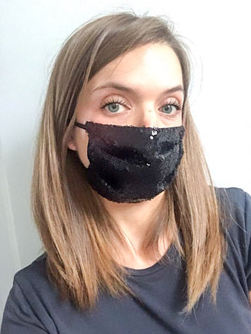 Black Sequin Face Mask