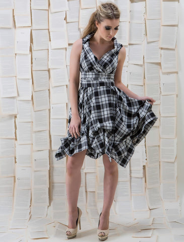 Black and White Tartan Trench Dress