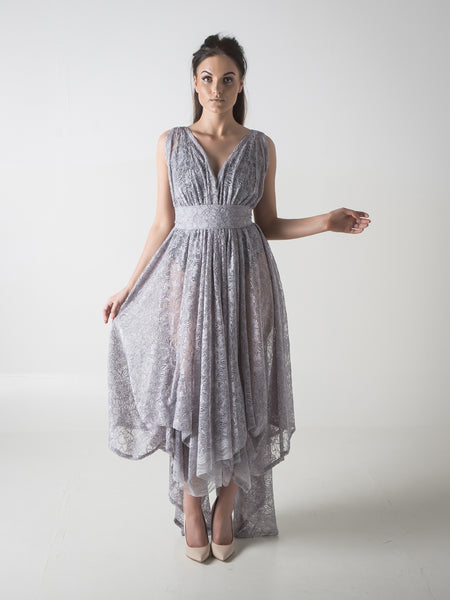 Silver Grey Lace Valentina Dress