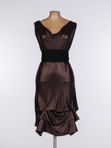 Bronze Sequin Tiffany Dress with Black Belt