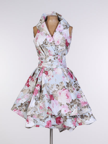 Blue Elsie Floral Trench Dress