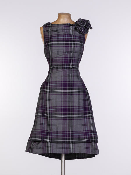 Grey and Purple Tartan Anna Dress