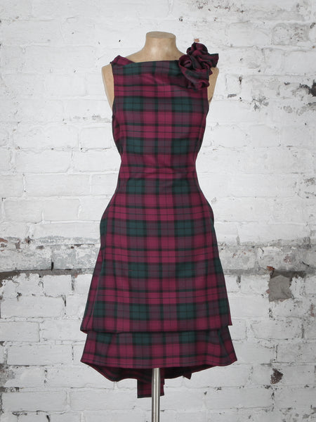 Maroon Green Tartan Anna Dress
