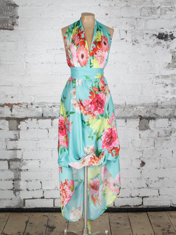 Turquoise Floral Emma Maxi Dress