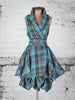 Turquoise Tartan Trench Dress