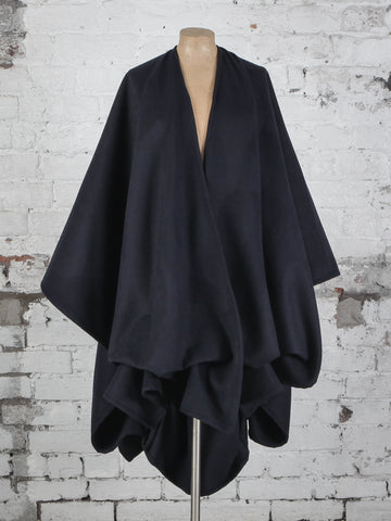 Navy Wool Wrap Cape Coat