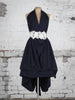 Navy Emma Maxi Dress with Floral Appliqué Belt