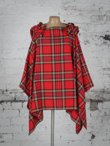 Bright Red and Yellow Tartan Wolf Cape
