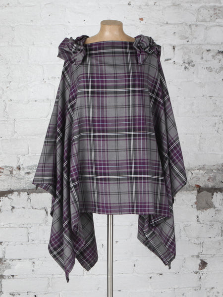 Grey and Purple Tartan Wolf Cape