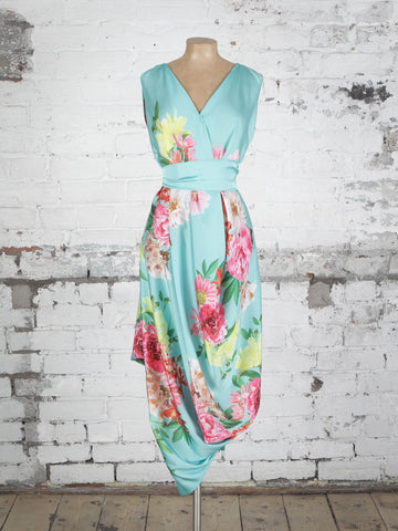 Turquoise Floral Poppy Dress