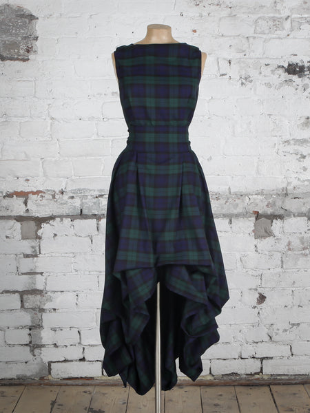 Navy and Green Tartan Wendy Dress