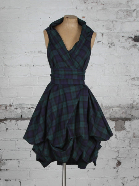 Navy and Green Tartan Trench Dress