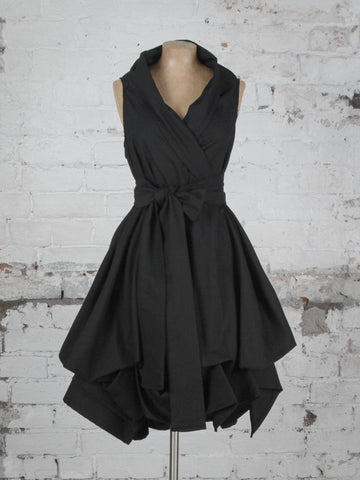Black Cotton Trench Dress