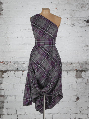 Grey and Purple Tartan Jessie Dress